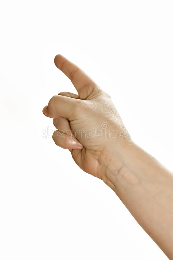 Zeigen des Fingers stockfoto