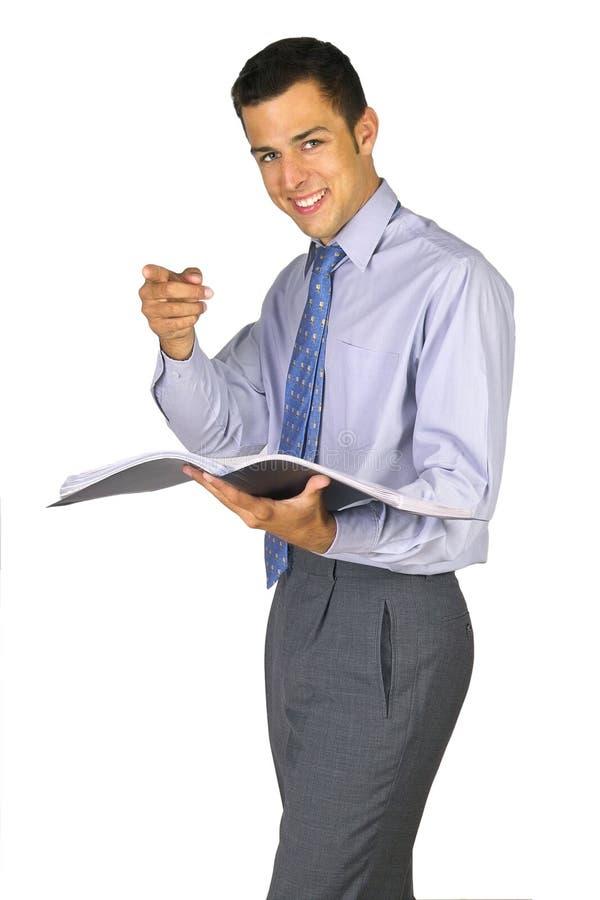 Zeigen des Geschäftsmannes stockfotografie