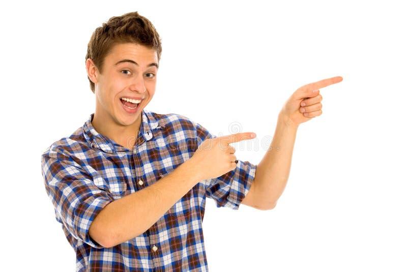 Zeigen des jungen Mannes lizenzfreies stockfoto