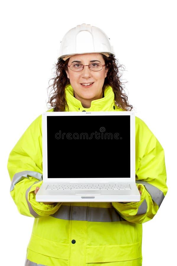 Zeigen eines Laptops stockbild