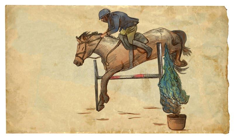 Zeigen Sie das Springen, Handgezogene farbige Illustration Linie Kunsttechnik auf einem alten Papier lizenzfreie abbildung