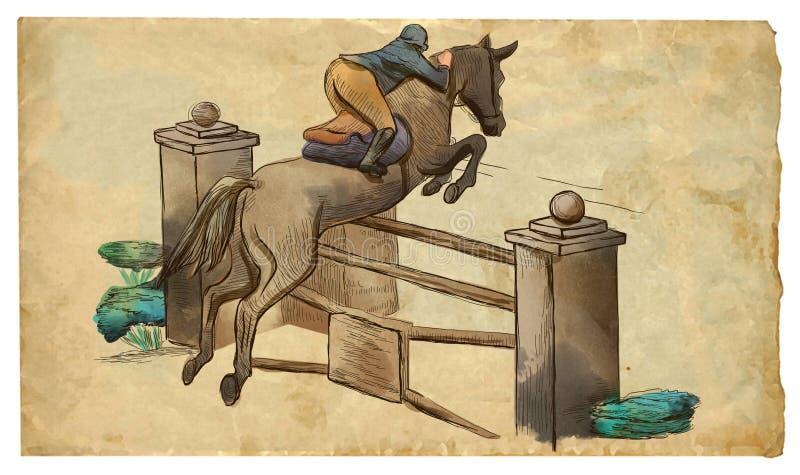 Zeigen Sie das Springen, Handgezogene farbige Illustration Linie Kunsttechnik auf einem alten Papier stock abbildung
