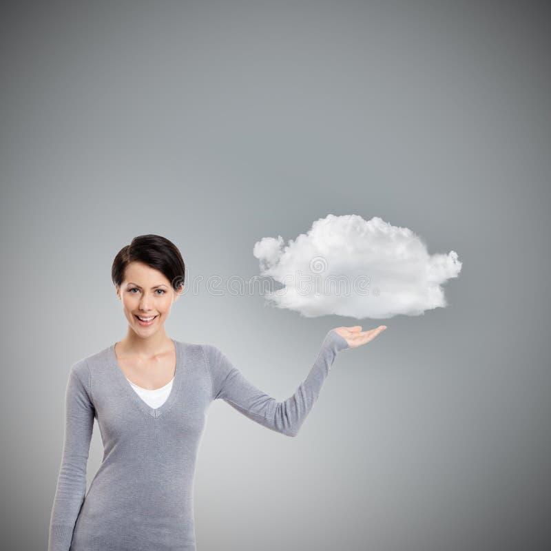 Zeigen von Geste auf die Wolke stockfotos