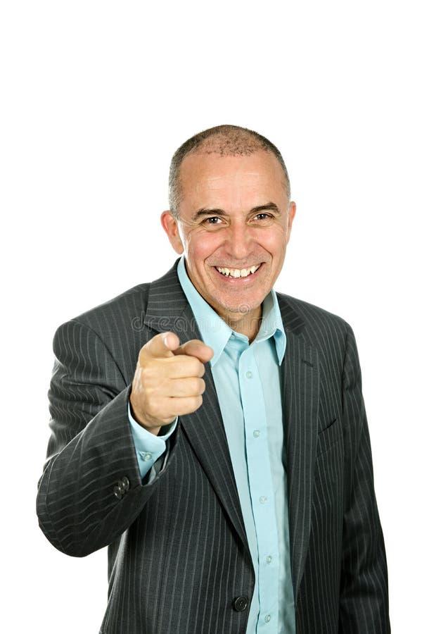 Zeigender und lachender Mann lizenzfreie stockfotos