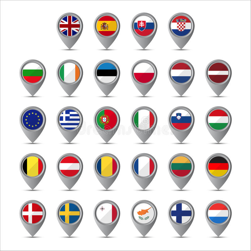 Zeiger 3D mit den Flaggen der Europäischer Gemeinschaft stock abbildung