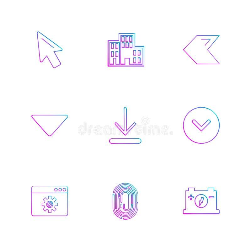 Zeiger, Download, Daumeneindruck, Rückseite, Pfeile, directi stock abbildung