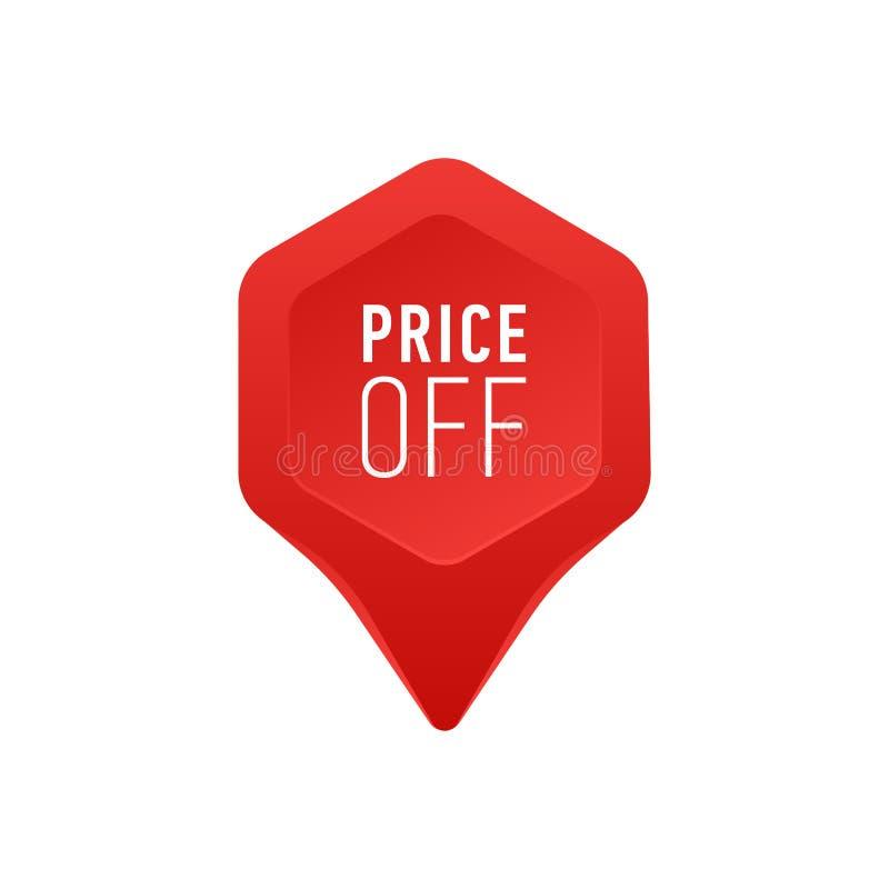 Zeiger für Verkaufs-oder Händlerpreis weg Tag-Ikonen-vom roten Punkt-Pfeil auf weißer Hintergrund-Vektor-Illustration stock abbildung