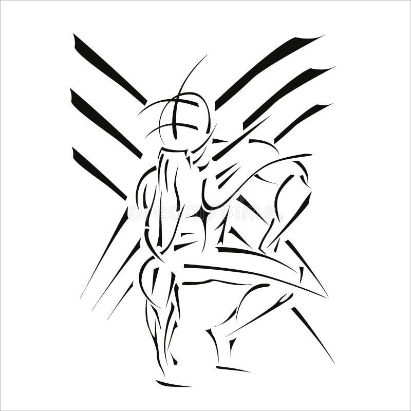 Zeigt einen stilisierten Bodybuilder lizenzfreie abbildung