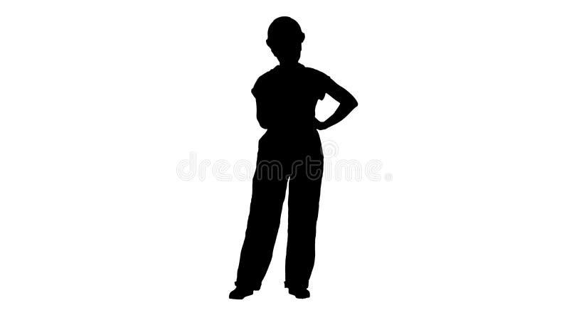 Zeigt verärgerter Frauenbauarbeiter des Schattenbildes Faust negative aggressive Gefühle auf ihrem Gesicht stockfotografie