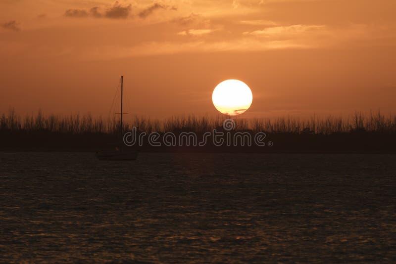 Zeilboot bij Baggermachine Zeer belangrijke Sigsbee - Key West Florida royalty-vrije stock afbeeldingen