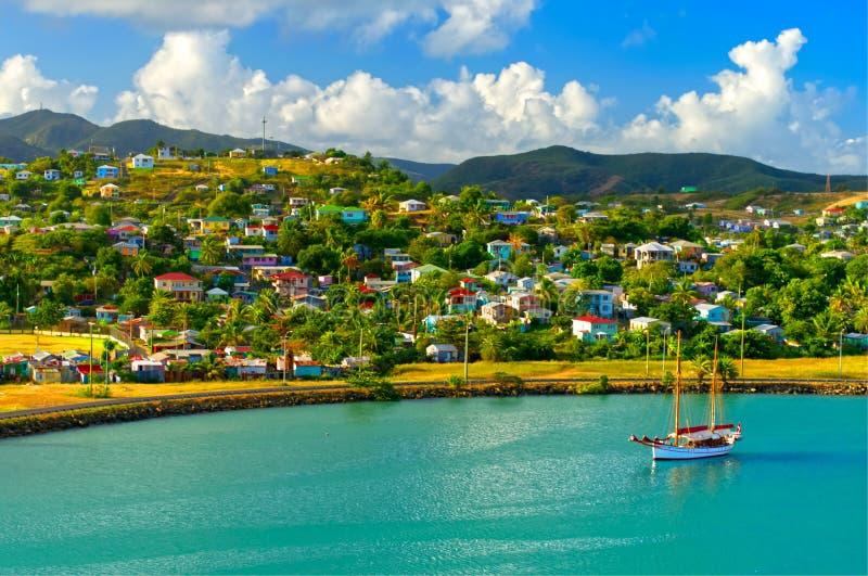 Zeilboot bij St John Haven, Antigua, de Antillen wordt vastgelegd dat royalty-vrije stock foto's