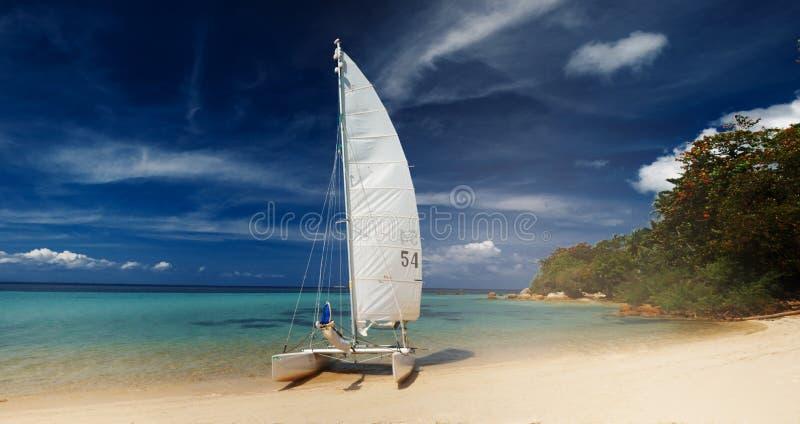 Zeilboot, catamaran, op tropisch strand met blauw water stock fotografie