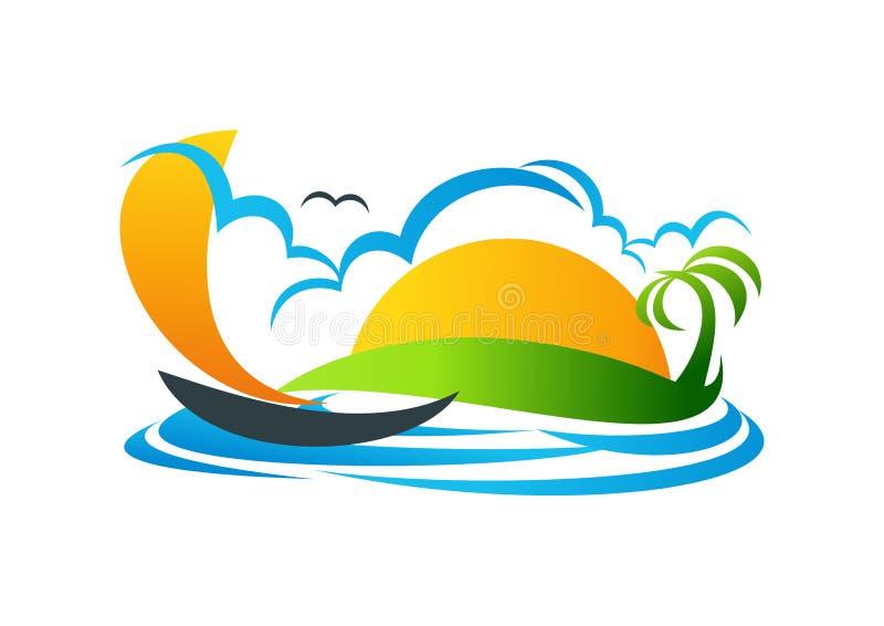 Zeilboot, embleem, jacht, symbool, strand, vakantie, vectorpictogramontwerp vector illustratie