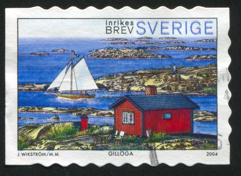 Zeilboot en huis in Gilloga vector illustratie