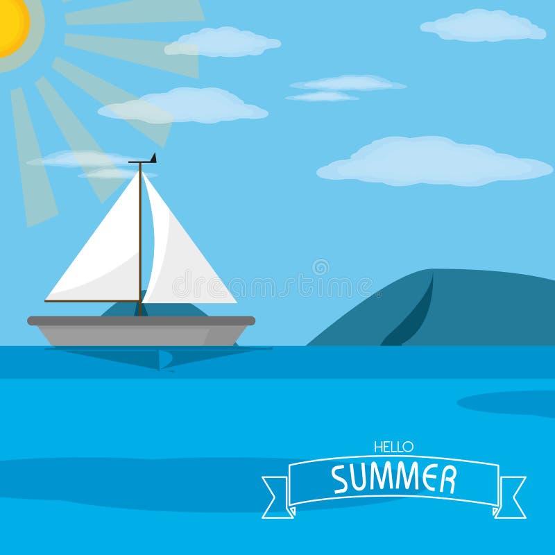 Zeilboot en overzees ontwerp royalty-vrije illustratie