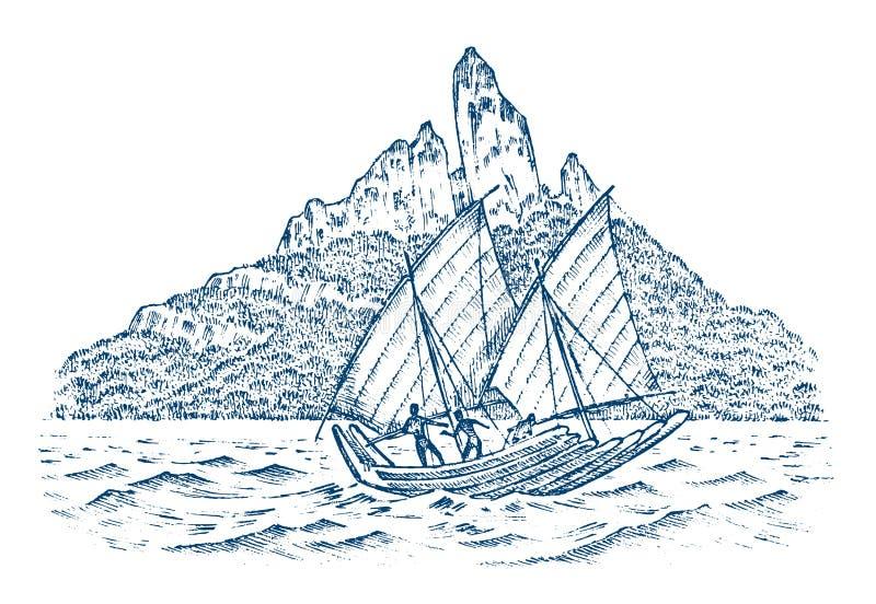 Zeilboot in het overzees op een achtergrond van bergen, de zomeravontuur, actieve vakantie Zeeschip, marien schip of stock illustratie