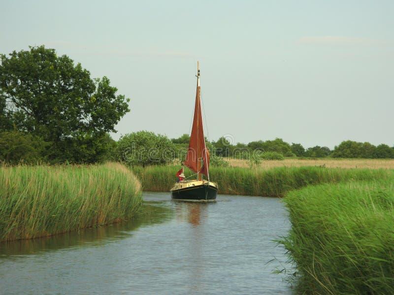Zeilboot Horsey Zuiver Norfolk Broads royalty-vrije stock foto's