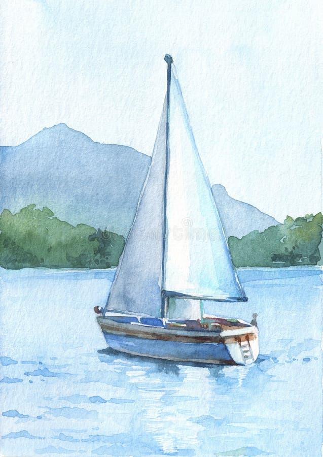 Zeilboot met witte zeilen in het meer op de mooie bergenachtergrond royalty-vrije illustratie