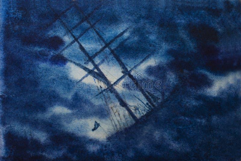Zeilboot in nachtonweer vector illustratie