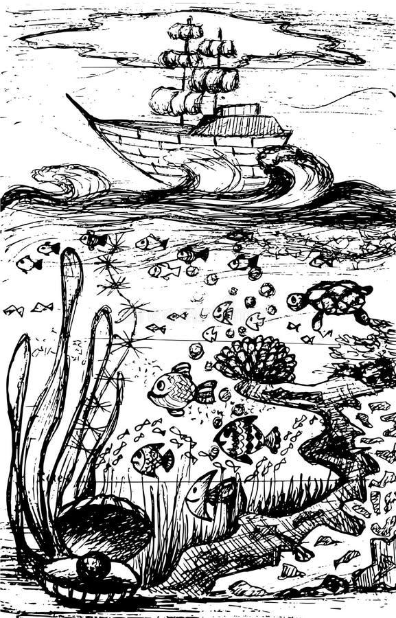 Zeilboot op golven en onderwaterwereld stock illustratie