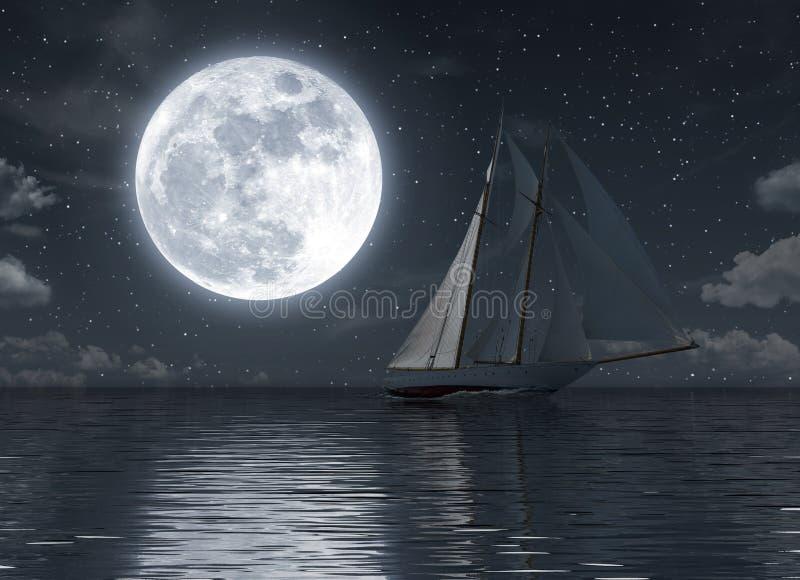 Zeilboot op het overzees bij nacht met volle maan stock illustratie