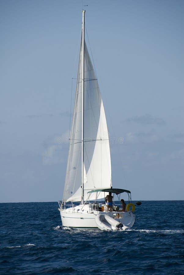 Zeilboot op zee stock foto