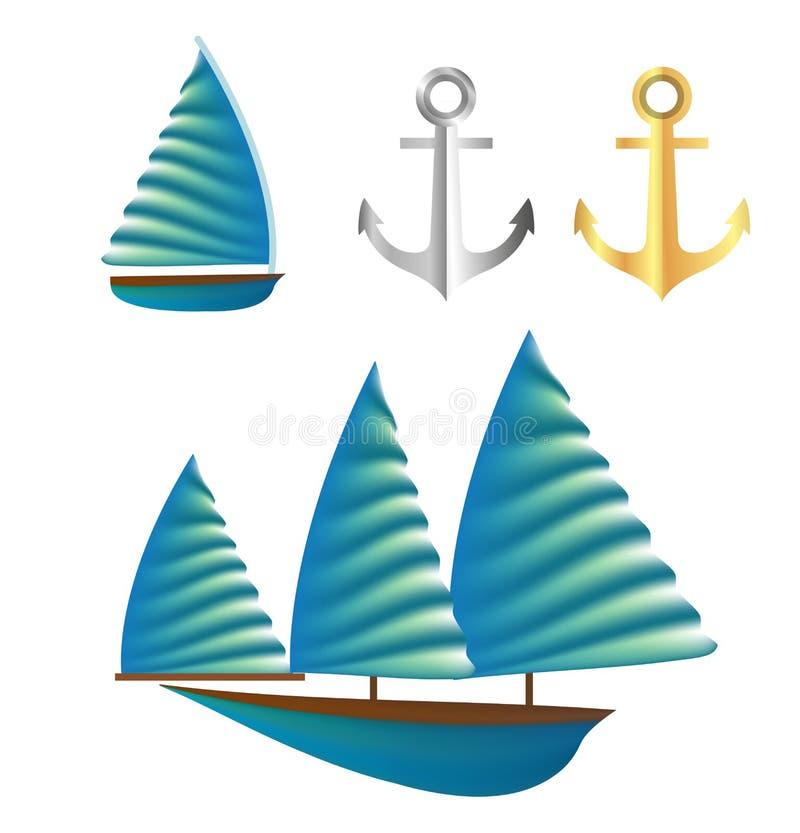 Zeilboot vector desing element voor zomer royalty-vrije illustratie