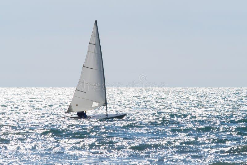 Zeilbootzeilen op een fonkelende overzees in een winderige dag stock afbeelding