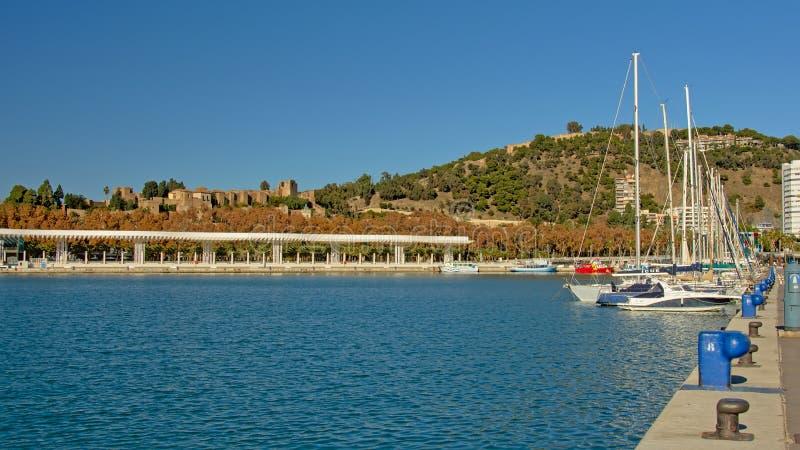 Zeilboten in de haven van Malaga, Spanje royalty-vrije stock foto