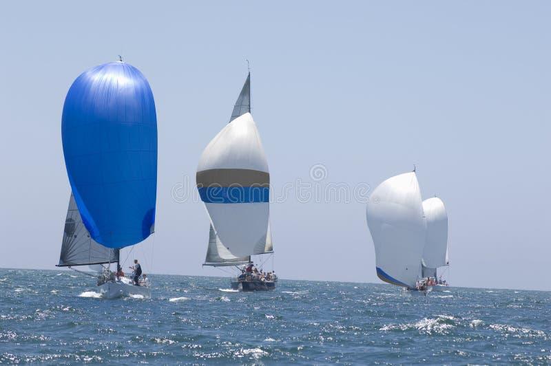 Zeilboten die in de Blauwe Oceaan tegen Hemel rennen royalty-vrije stock foto's