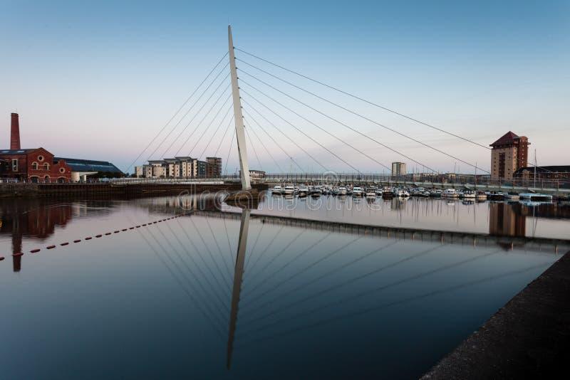 Zeilbrug Swansea stock foto's