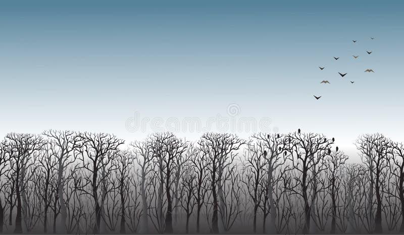 Zeile der Bäume auf dem Horizont stock abbildung