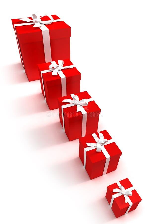 Zeile der roten Geschenkkästen lizenzfreie abbildung