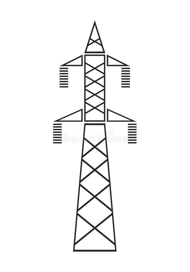 Zeile des Stroms Installation für Getriebe Flache Ikone, Gegenstand oder Symbol lizenzfreie abbildung