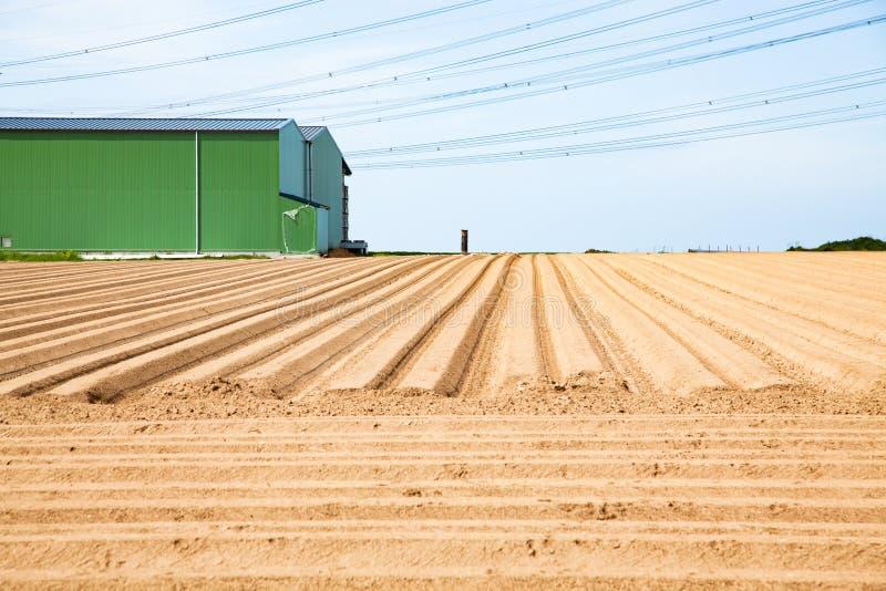 Zeilenmuster auf einem Pflugfeld, das für das Anpflanzen von Pflanzen im Frühjahr vorbereitet ist lizenzfreies stockfoto