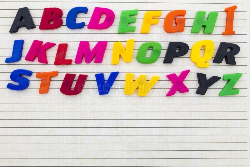 Zeilenschwärzungskopie-Raumhintergrund ABC-Buchstaben stockbild