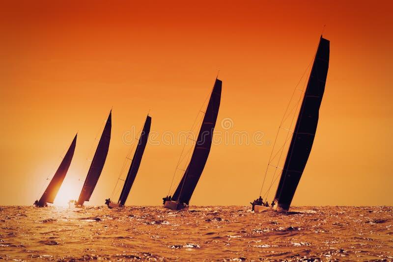 Zeiljachten bij zonsondergang stock afbeeldingen