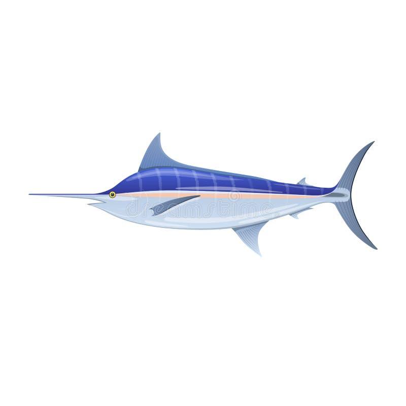 Zeilvis blauwe marlijn, zwaardvissen met lange dunne neus stock illustratie