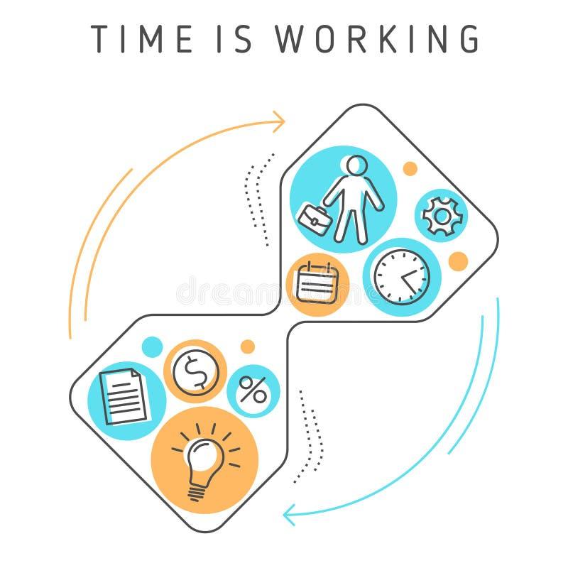 Zeit arbeitet stock abbildung