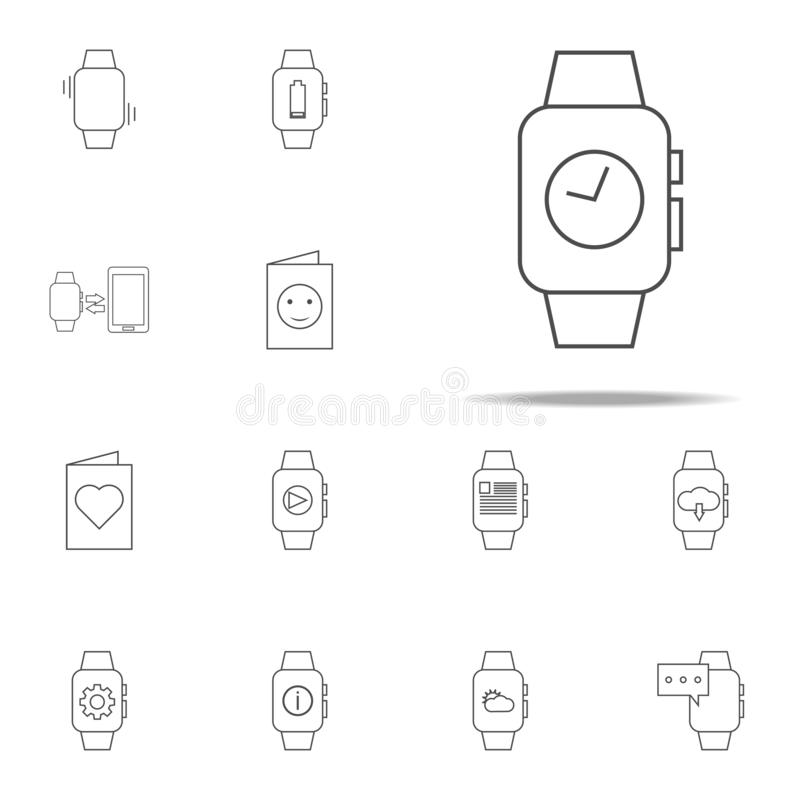 Zeit auf intelligenter Uhrikone Netzikonen-Universalsatz für Netz und Mobile vektor abbildung