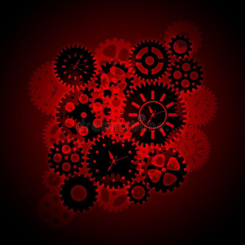 Zeit-Borduhr übersetzt Clipart auf rotem Hintergrund stock abbildung