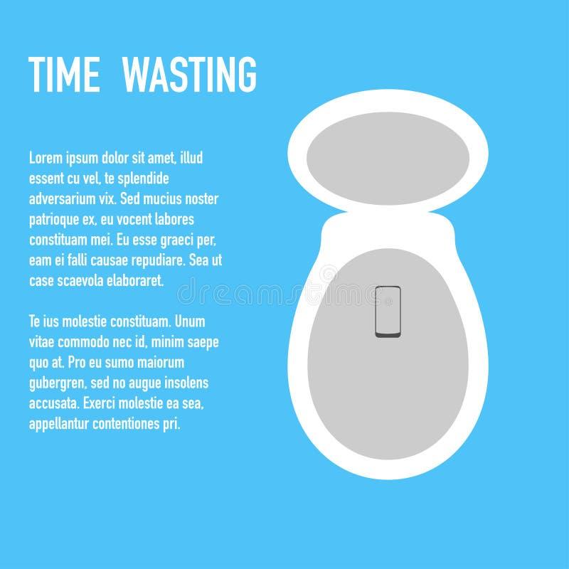 Zeit, die zum Toilettenkonzept-Fahnenvektor vergeudet vektor abbildung