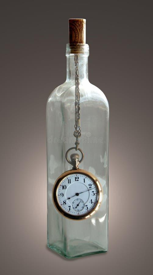 Zeit in einer Flasche stockfotografie