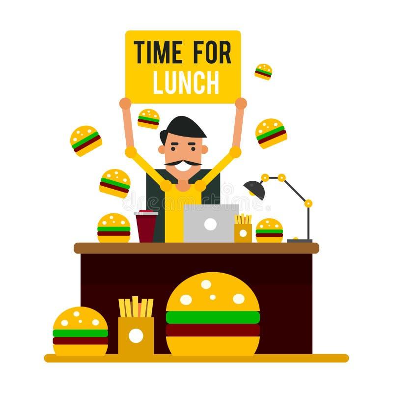 Zeit für das Mittagessen Geschäftsmann am Arbeitsplatz bereit, ein bre zu nehmen lizenzfreie abbildung