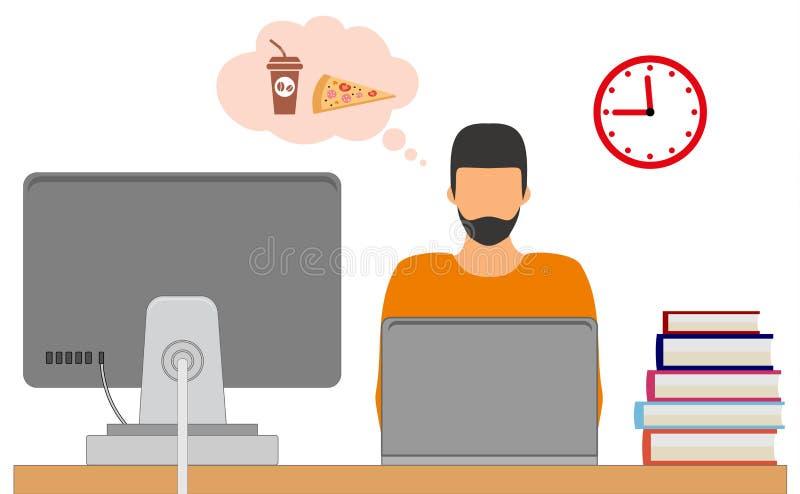 Zeit für das Mittagessen Geschäftsmann am Arbeitsplatz bereit, eine Pause zu machen Vektorabbildung getrennt auf weißem Hintergru vektor abbildung