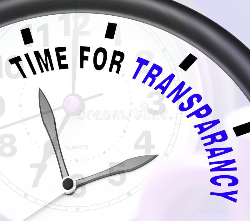 Zeit für die Transparenz-Mitteilung, die Ethik und Gerechtigkeit zeigt lizenzfreie abbildung