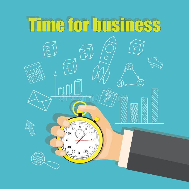 Zeit für Geschäft mit Stoppuhr in der Geschäftsmannhand vektor abbildung