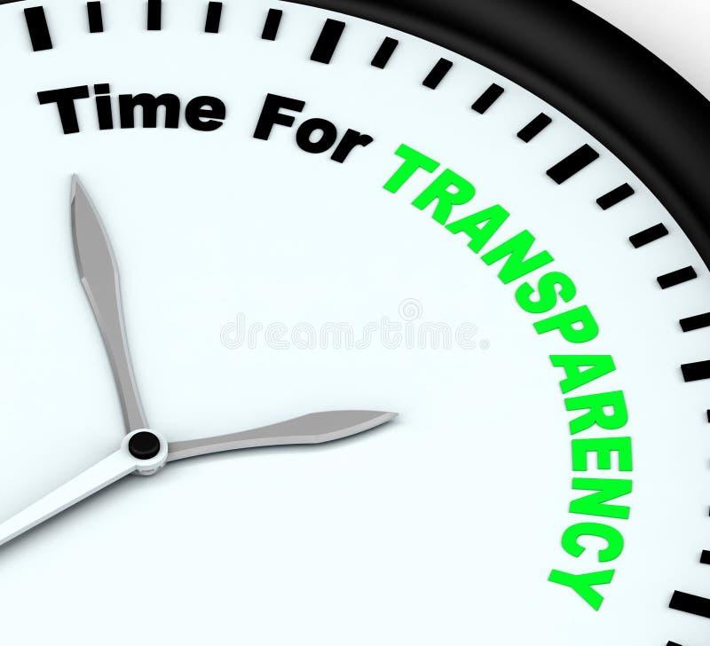 Zeit für Transparenz-Mitteilung zeigt Ethik und Gerechtigkeit stock abbildung