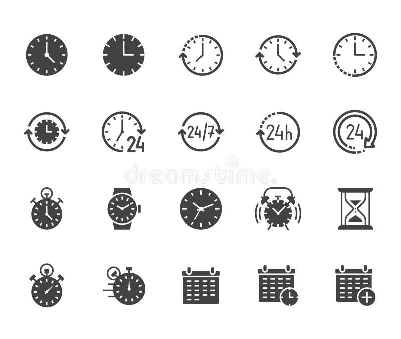 Zeit flacher Glyph-Ikonensatz Wecker, Stoppuhr, Timer, Sandglas Tag und Nacht Kalendervektorillustrationen vektor abbildung