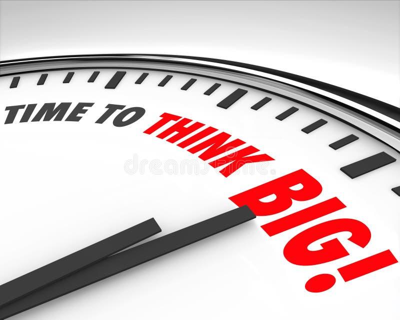 Zeit, großes Uhr-Kreativitäts-Innovations-Brainstorming zu denken lizenzfreie abbildung